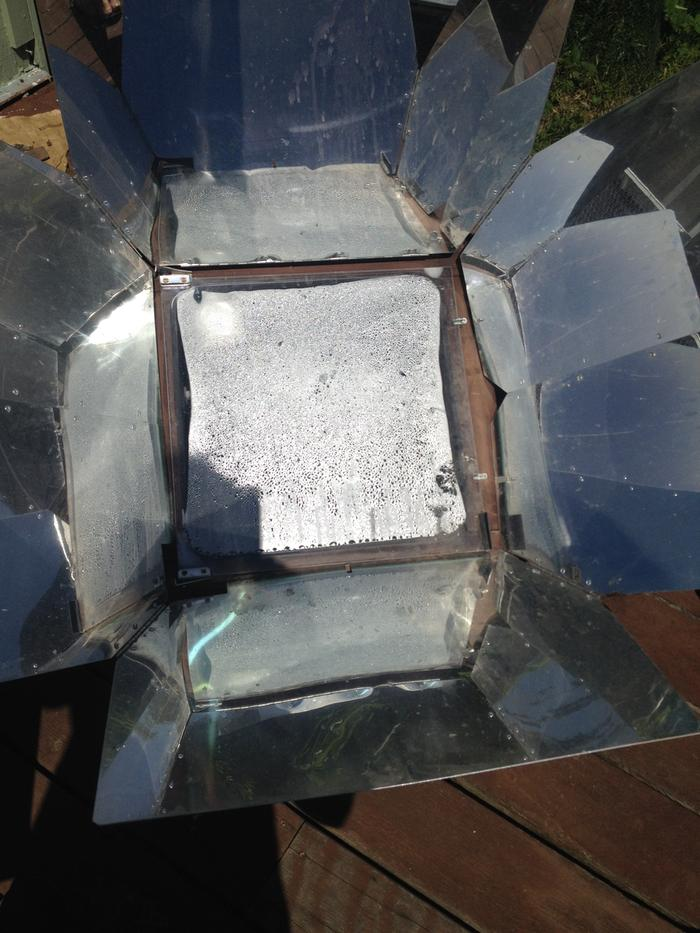 cooking soup in solar cooker