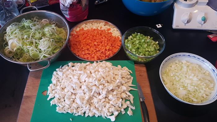 chopped veggies for soup
