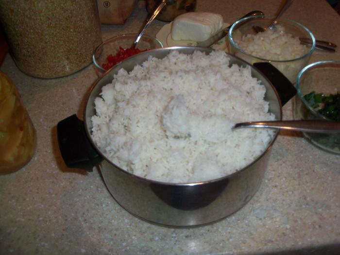 5 cups rice, 6.25 cups water makes for rice that's a bit dry but yummy
