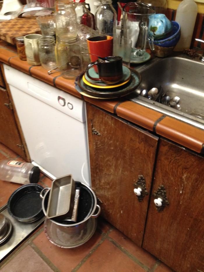 Big pile of dirty dishes