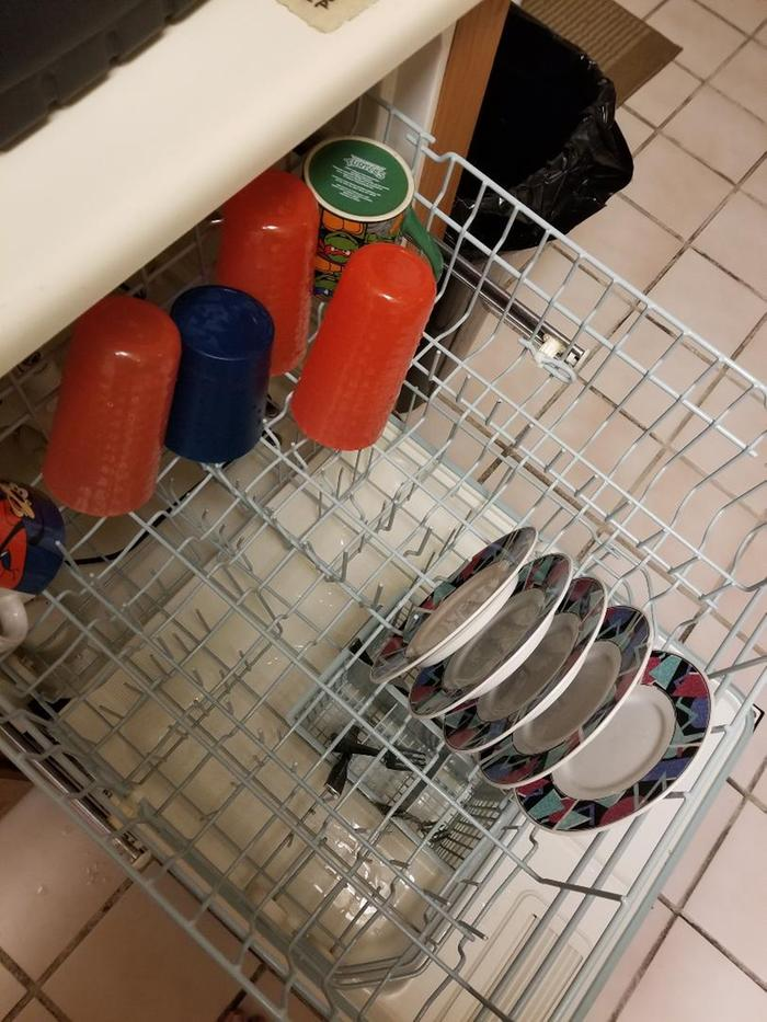 dishes drying in washing machine