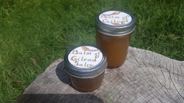Labeled jars--one has beeswax (salve) and the other does not.