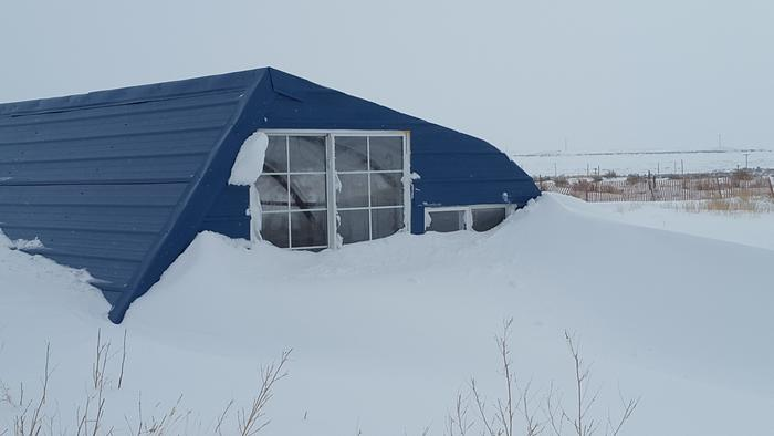 We've had a lot of snow this year. Either we're drifted in, or the wind is scouring the snow away.