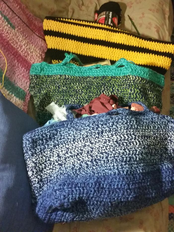 3 grocery size crocheted bags