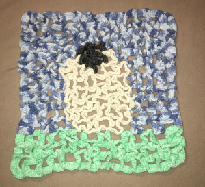 "A crochet Sheep Hot Pad - 3-D crochet (about 16"" x 16"")"