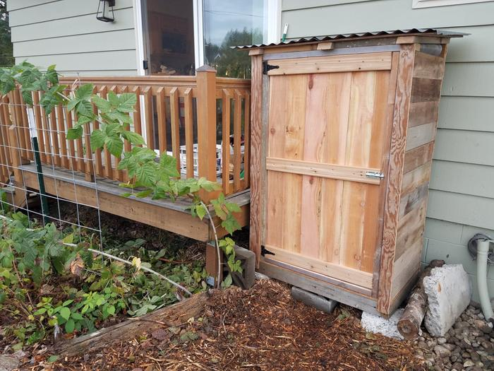 Shed built from salvaged lumber