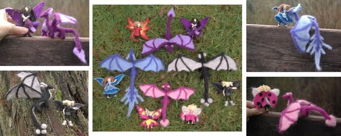pink blue black purple waldorf fairies and dragons natural