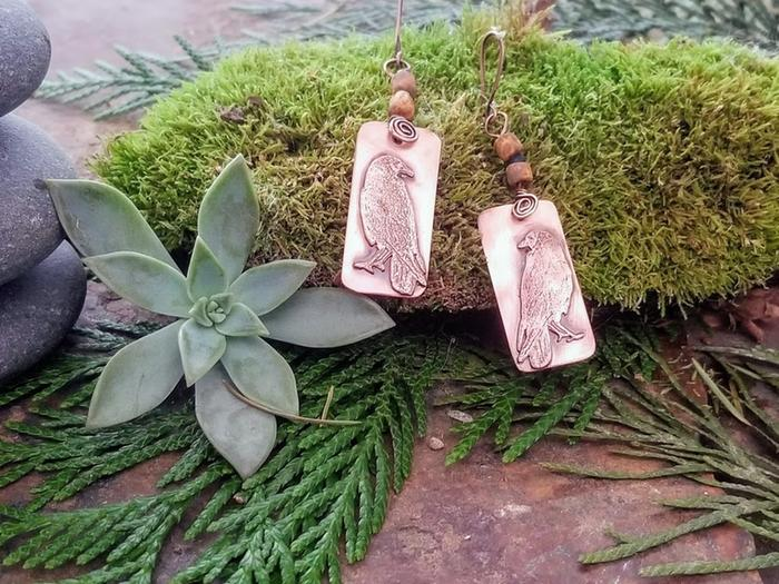etched copper raven earrings