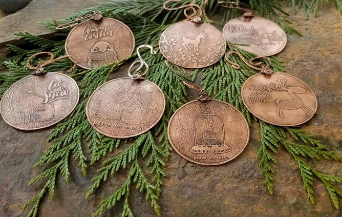 etched copper lifetime Christmas ornament