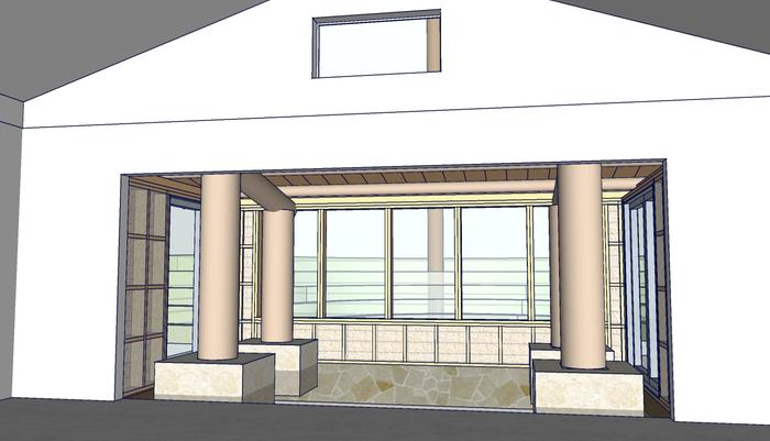 Perspective of solarium garage remodel from inside.