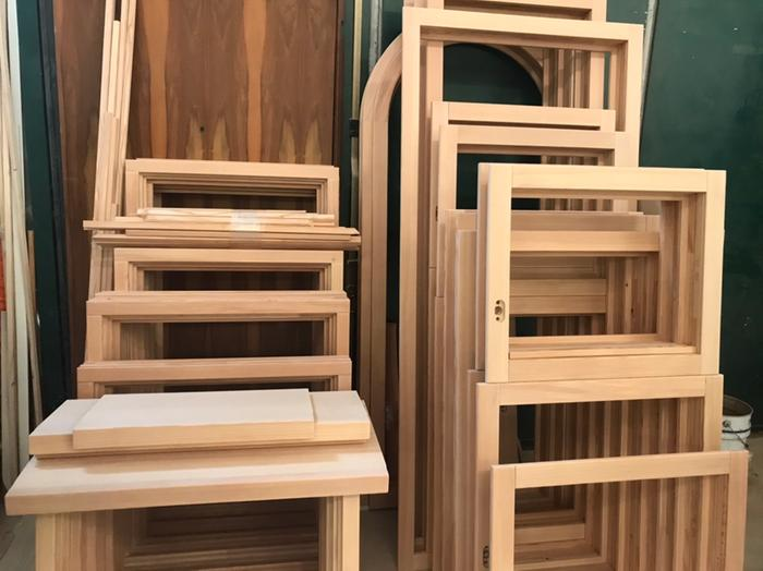 Our larch windows being build by local craftsmen