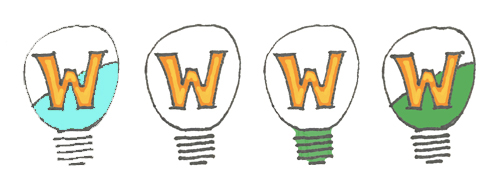 Wheaton Labs logo sketch with large W, organic color, and simplified bulb outline.