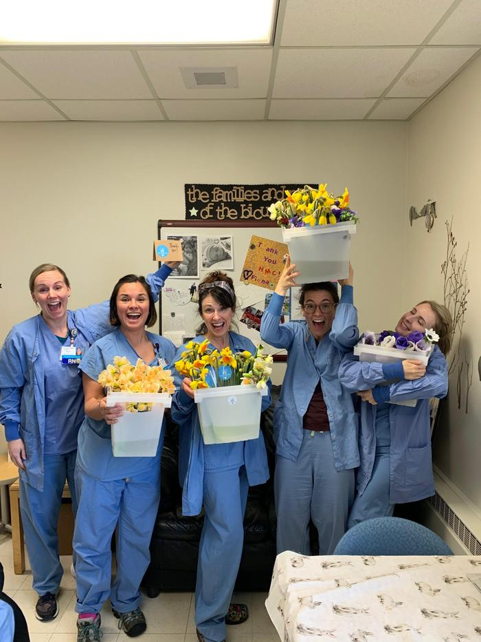 Harborview nurses with Wild Canary Farm flowers