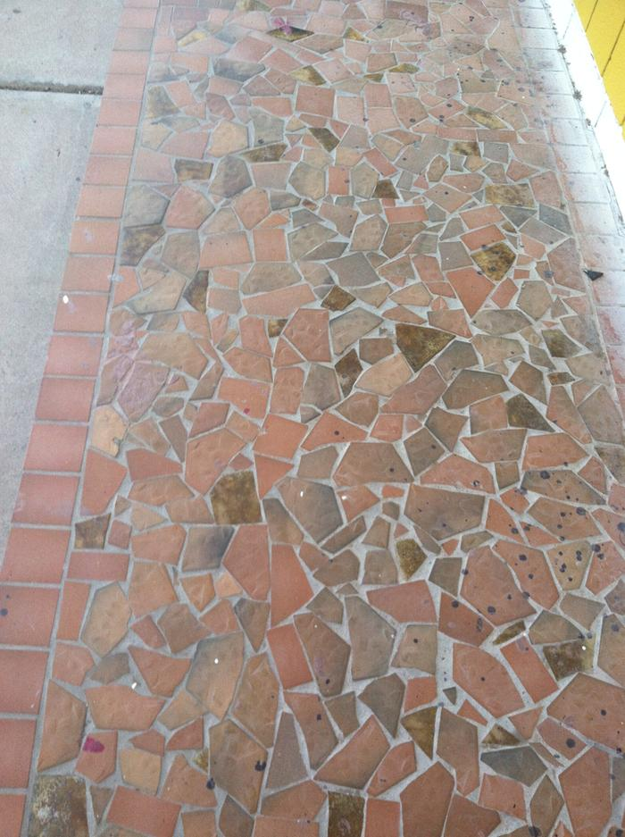 Broken quarry tile patio