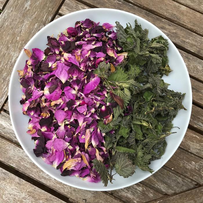 Dried nettle leaves and rose petals