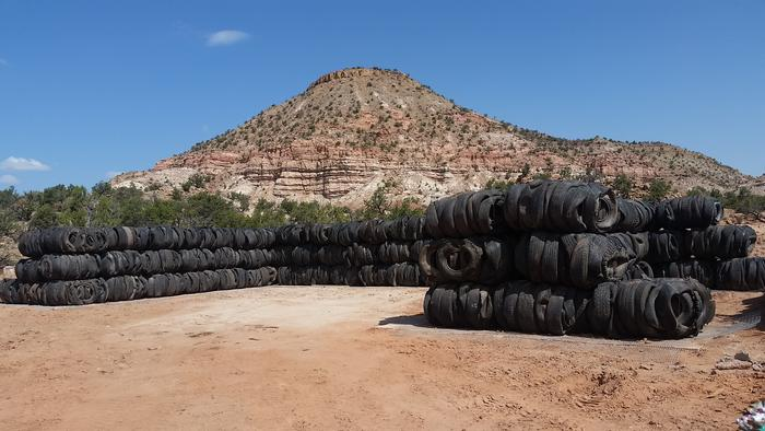 The finished tire bale walls