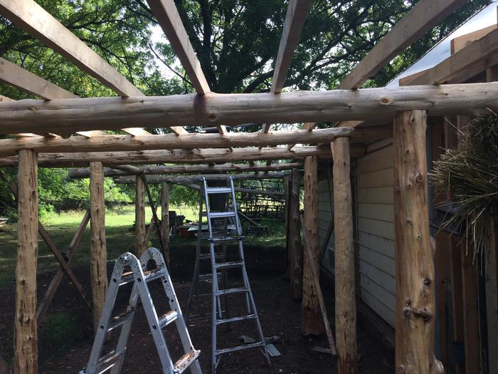 Moving forward with roof support. Reclaimed 16 foot 2x4's from a civic road project. Power washed and good as new.