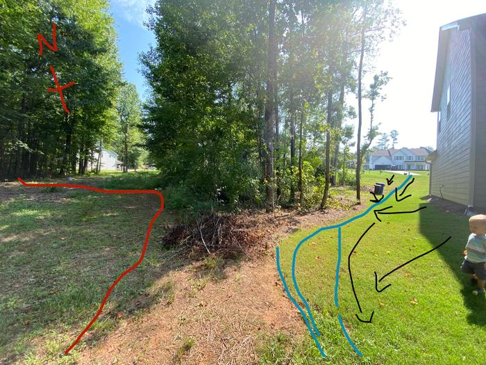 NW on left. Red line denotes parallel pipeline right of way... and neighbors property line.