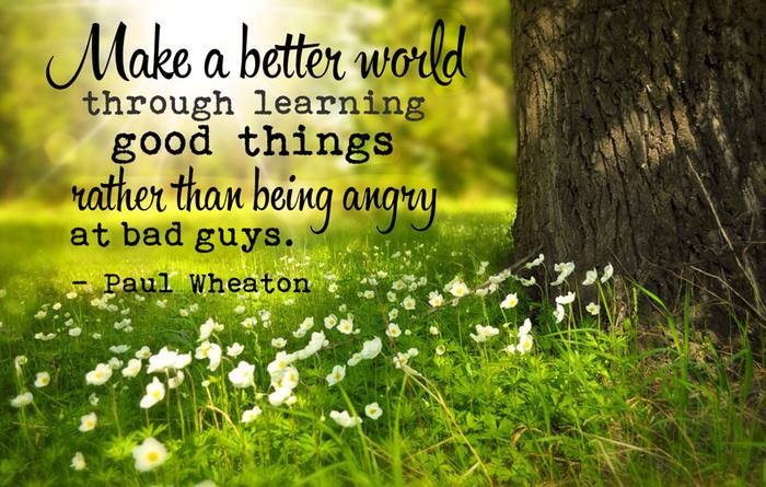 Make a better world by learning good things rather than being angry at bad guys.