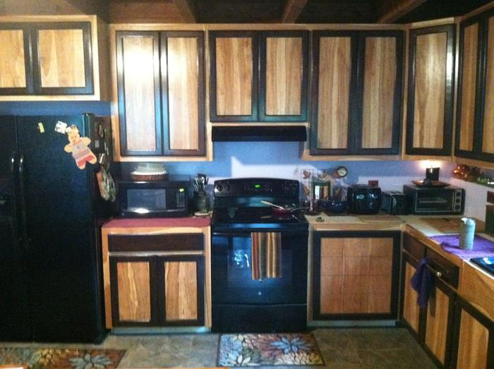 View of Cherry wood cabinets