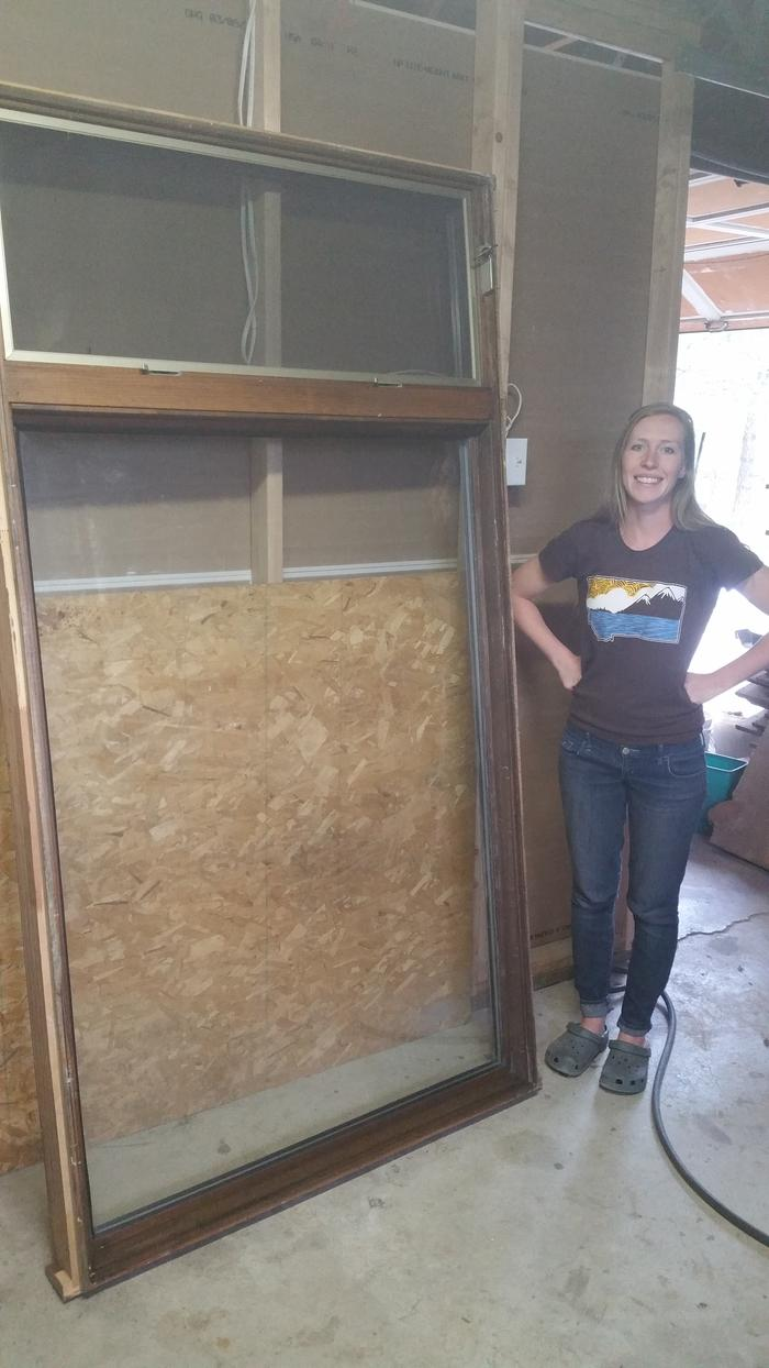 wife and recycled windows. Free 4x7 windows from the dump.