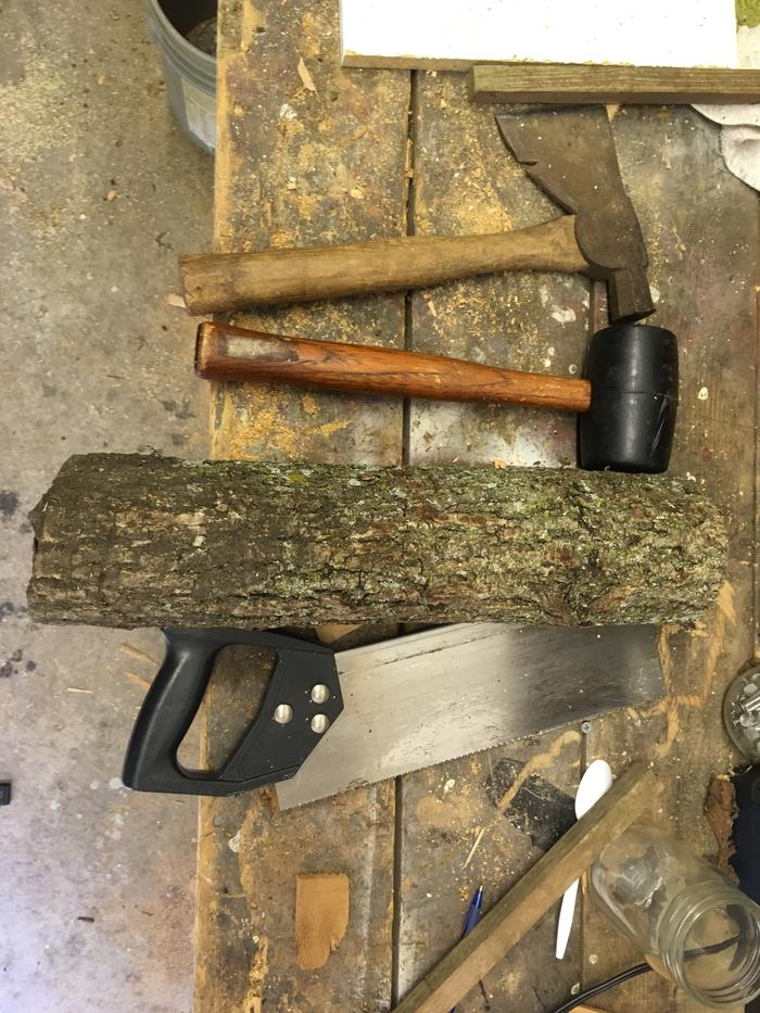tools and wood for making mallet